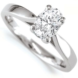 0.80cts JSI2 Oval Diamond Solitaire Engagement Ring Main Image