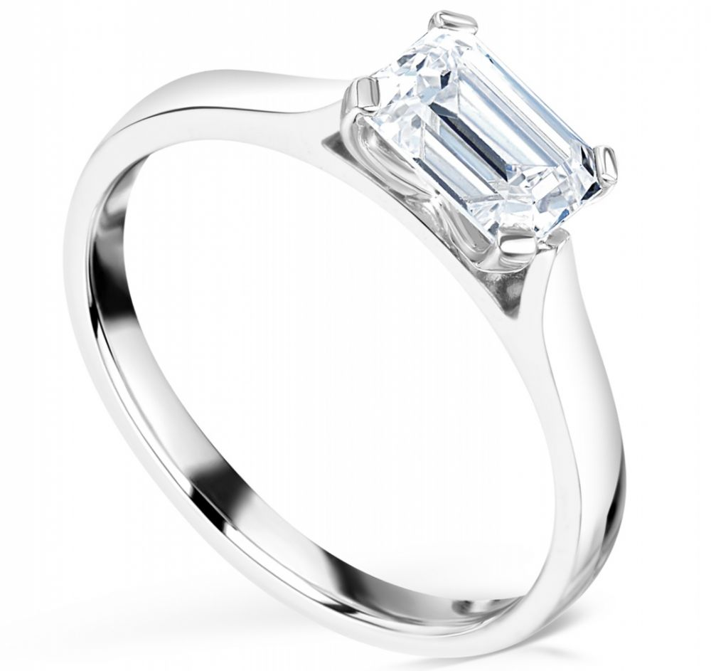 Modern East West Set Emerald Cut Diamond Engagement Ring