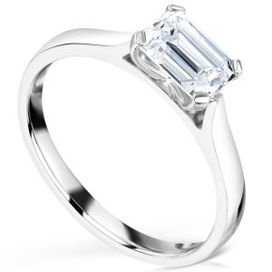 Modern East West Set Emerald Cut Diamond Engagement Ring Main Image