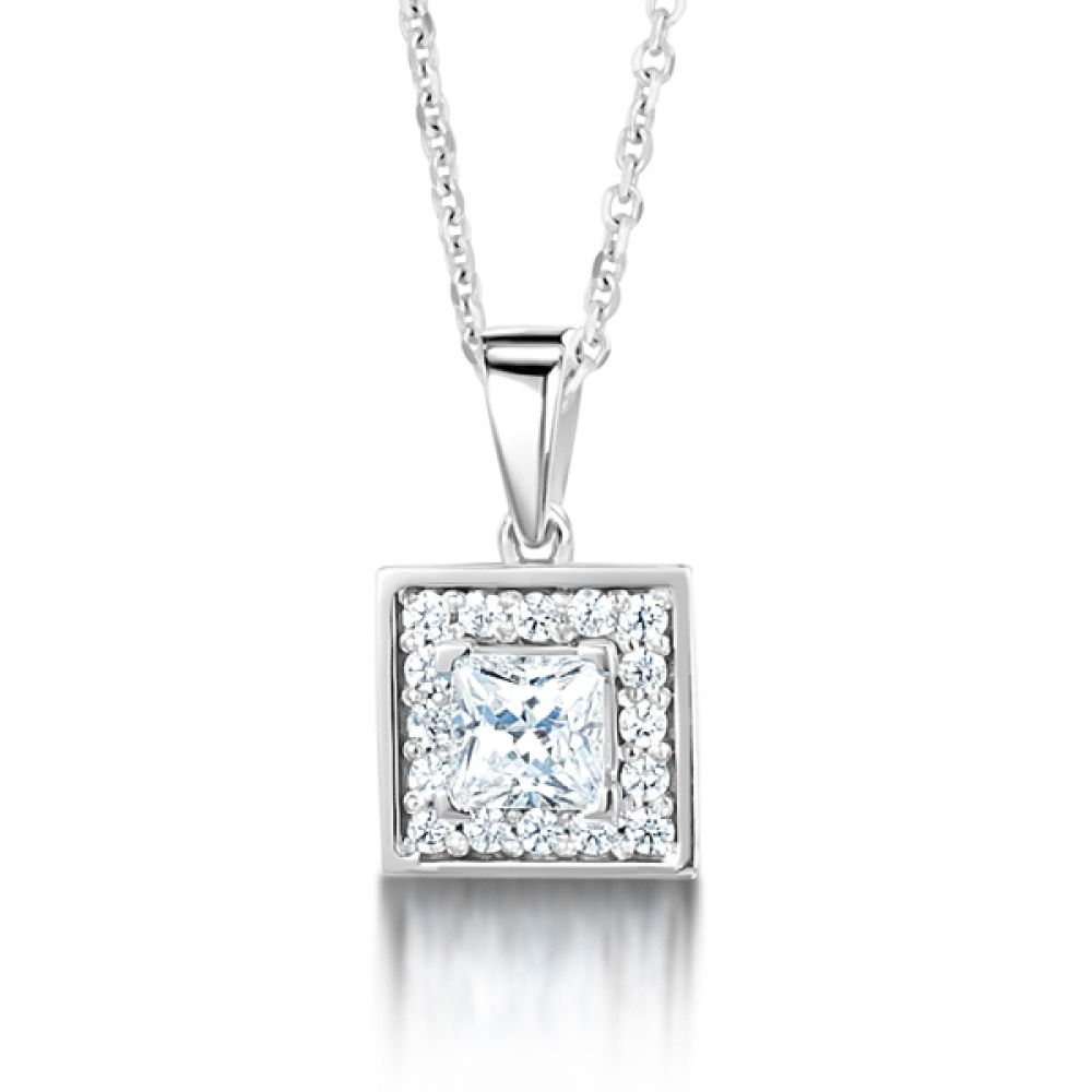Square Princess Cut Diamond Halo Pendant