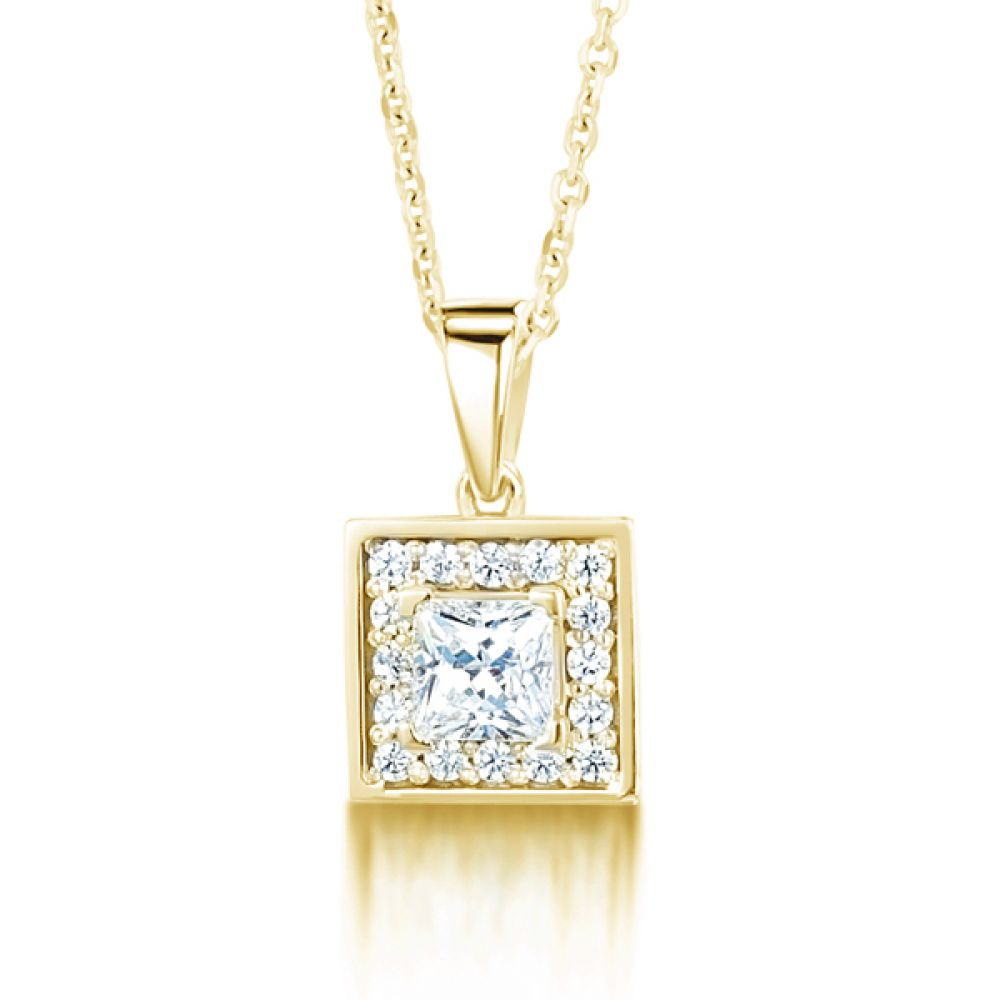 Square Princess Cut Diamond Halo Pendant In Yellow Gold