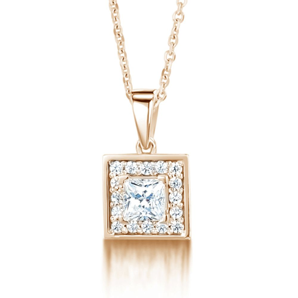 Square Princess Cut Diamond Halo Pendant In Rose Gold