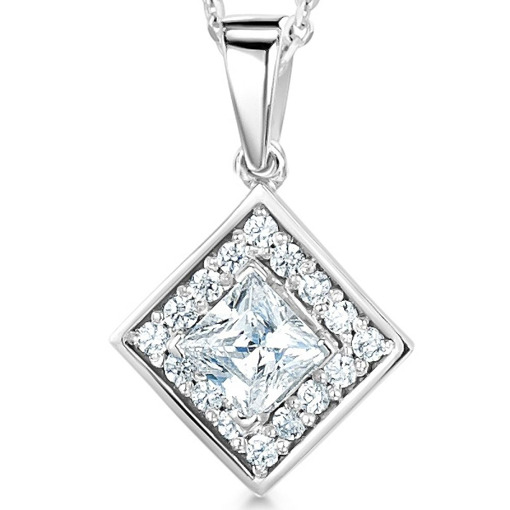 Modern Princess Cut Diamond Halo Pendant