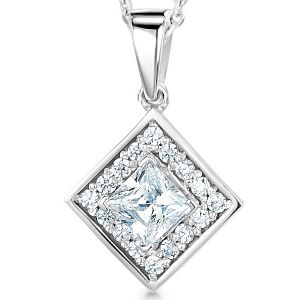 Modern Princess Cut Diamond Halo Pendant  Main Image