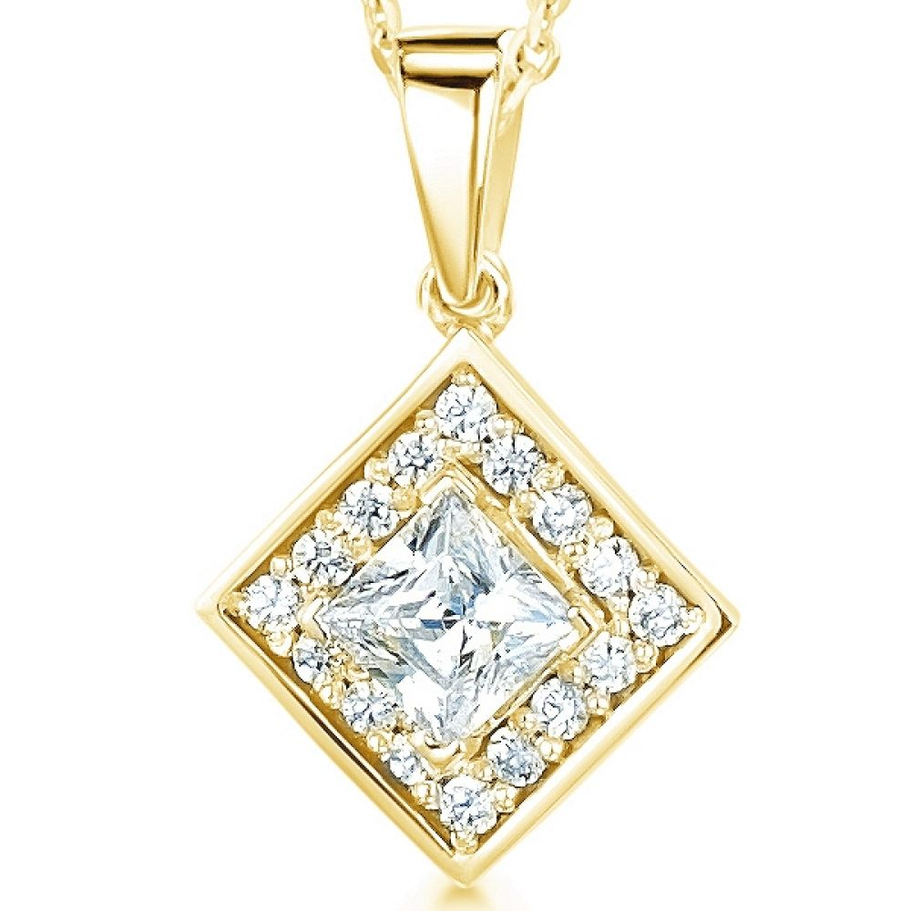 Modern Princess Cut Diamond Halo Pendant In Yellow Gold