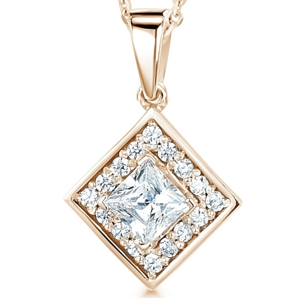 Modern Princess Cut Diamond Halo Pendant In Rose Gold