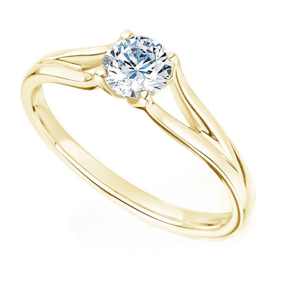 Round Diamond Engagement Ring with Plain Double Shoulders In Yellow Gold