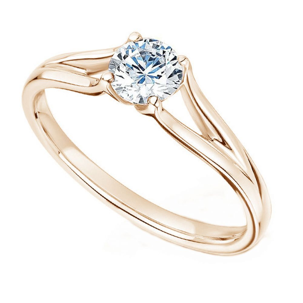 Round Diamond Engagement Ring with Plain Double Shoulders In Rose Gold