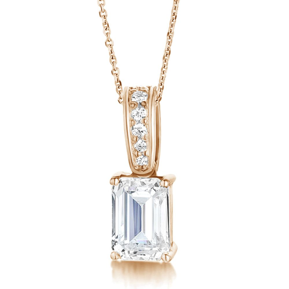 Emerald Cut Diamond Pendant With Diamond Loop In Rose Gold