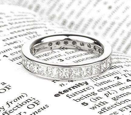 Big Channel Set Eternity Band with Princess Cut Diamonds