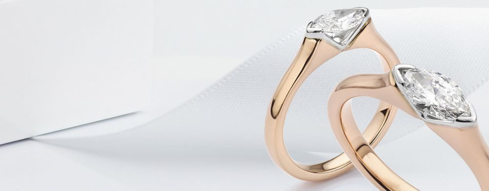Marquise engagement rings shown in 18ct Rose Gold