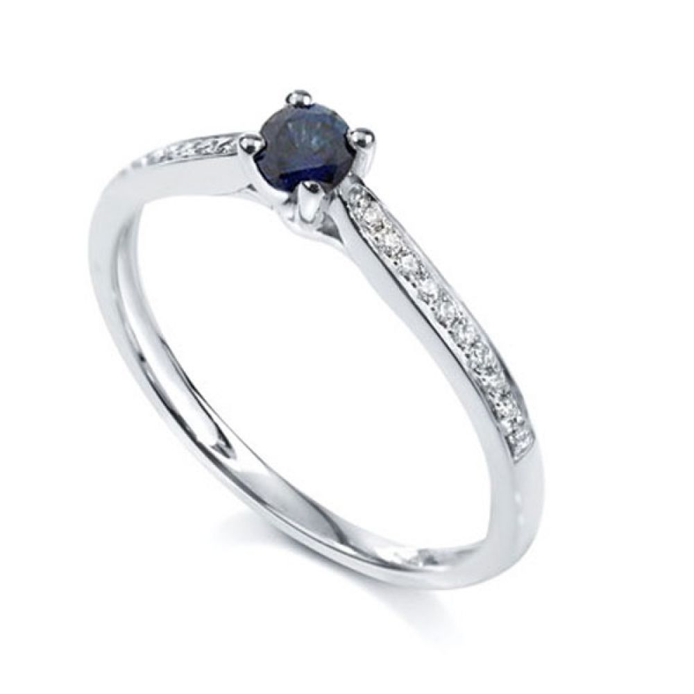 Blue Sapphire Diamond Shoulder Engagement Ring