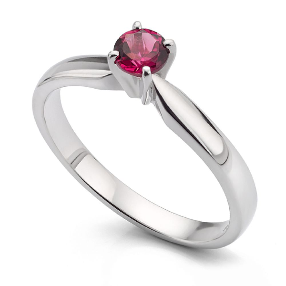 Pink Tourmaline Solitaire Engagement Ring