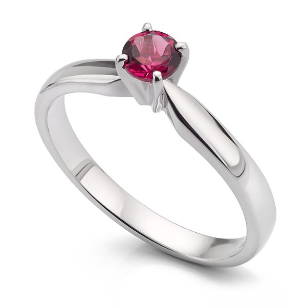 Pink Tourmaline Solitaire Engagement Ring Main Image