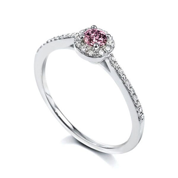 Round Pink Sapphire And Diamond Halo Ring  Main Image