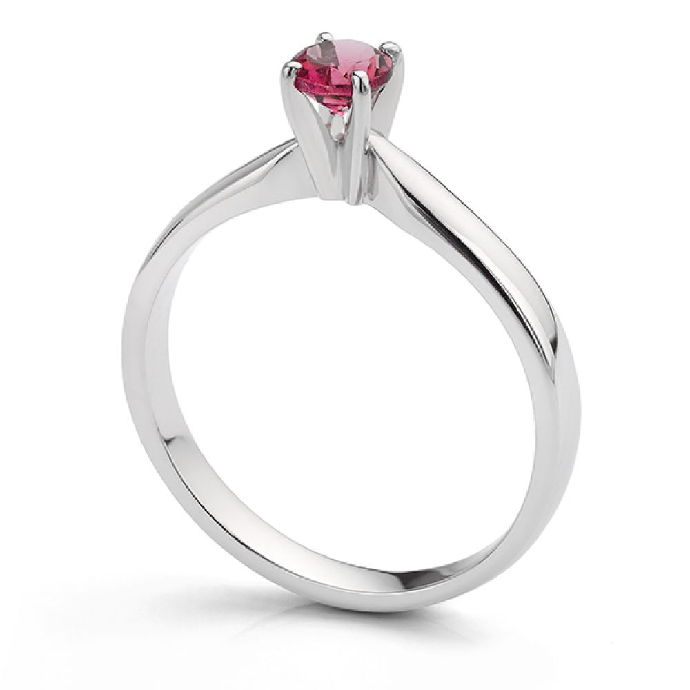 Pink Tourmaline Solitaire Engagement Ring Side View