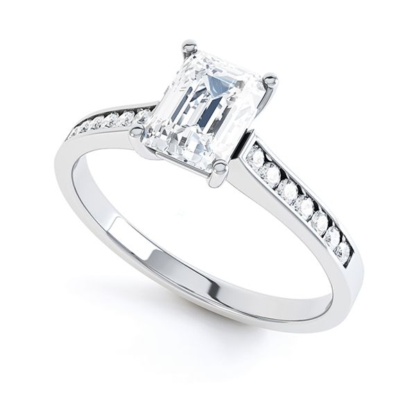 Emerald Cut Ring with Channel Set Shoulders Main Image