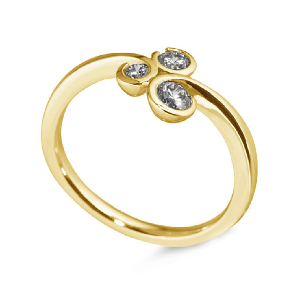 3 Stone Diamond Ring Curled Bezel Setting - Yellow