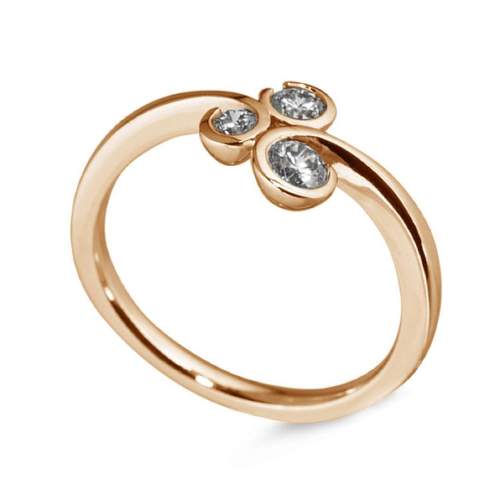 3 Stone Diamond Ring Curled Bezel Setting - Rose