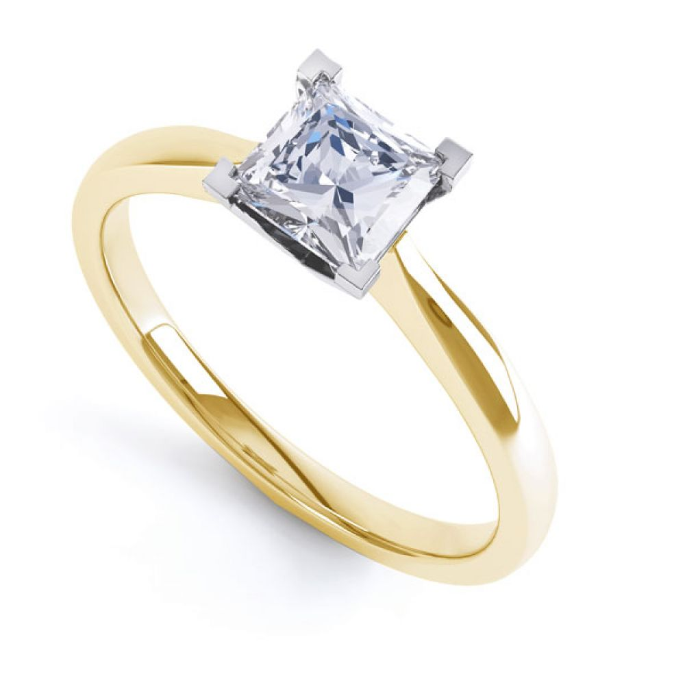 Princess Solitaire Engagement Ring with Open Setting In Yellow Gold