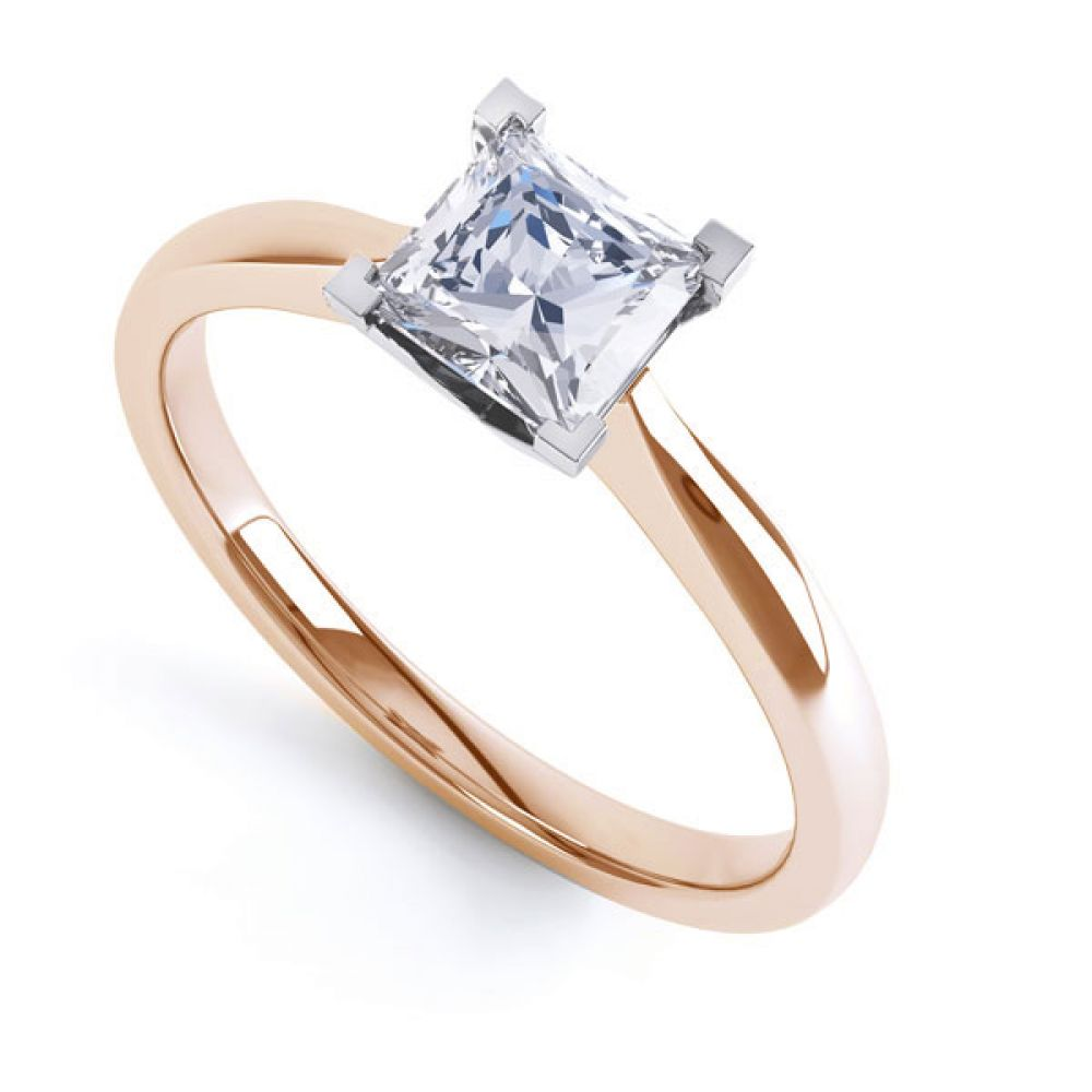 Princess Solitaire Engagement Ring with Open Setting In Rose Gold