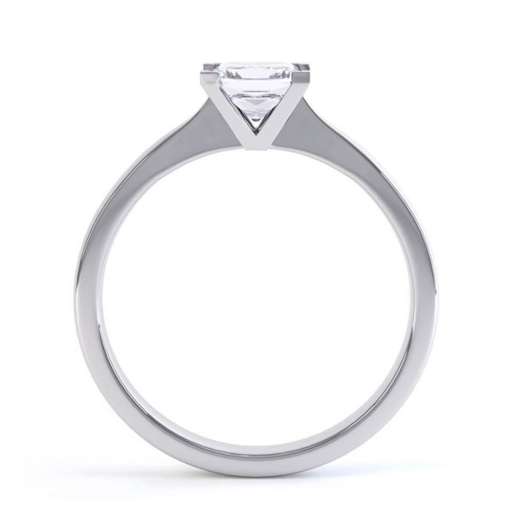 Princess Solitaire Engagement Ring with Open Setting Side View
