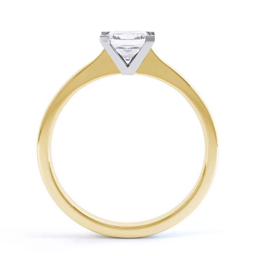 Princess Solitaire Engagement Ring with Open Setting Side View In Yellow Gold