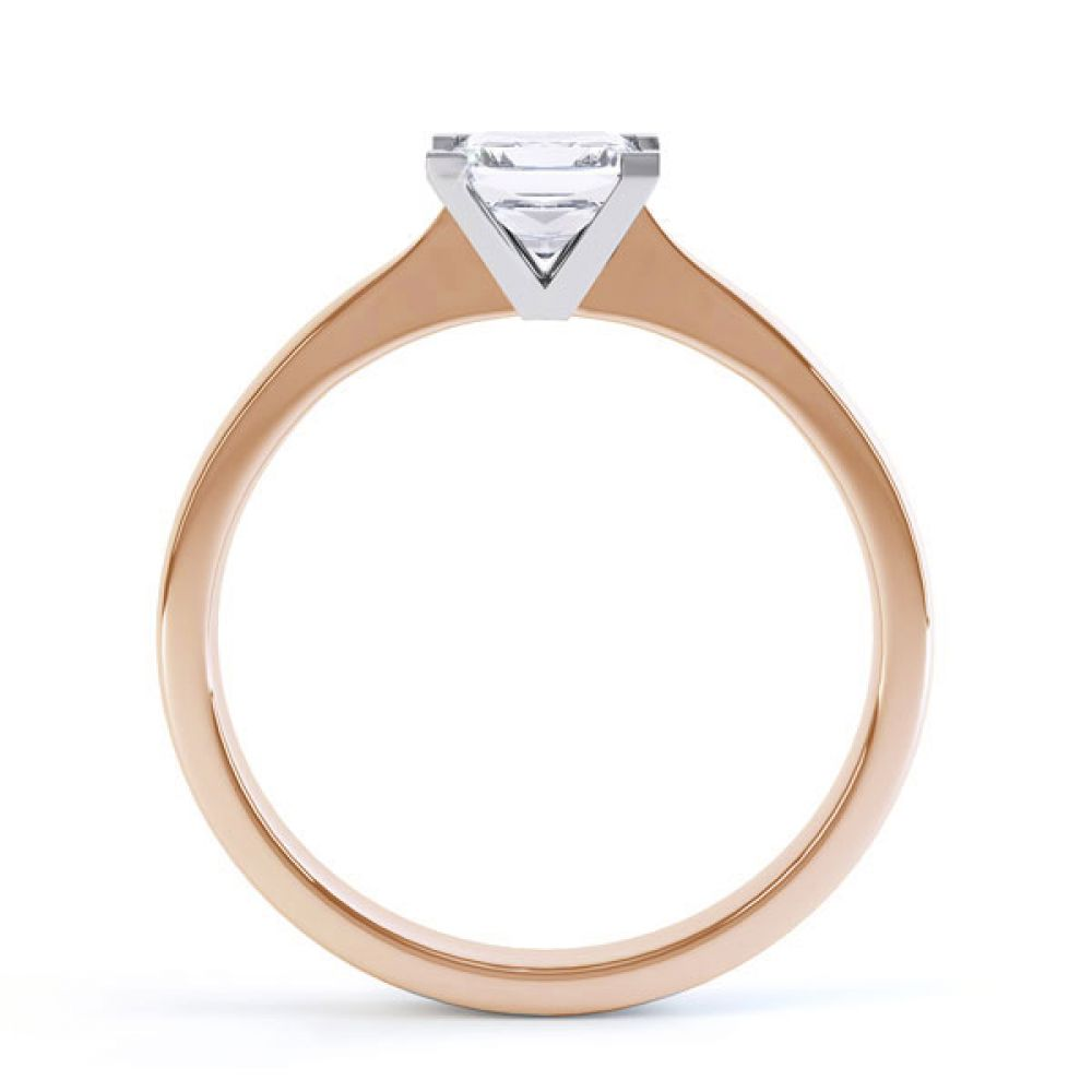 Princess Solitaire Engagement Ring with Open Setting Side View In Rose Gold