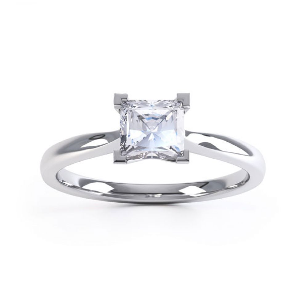 Princess Solitaire Engagement Ring with Open Setting Top View