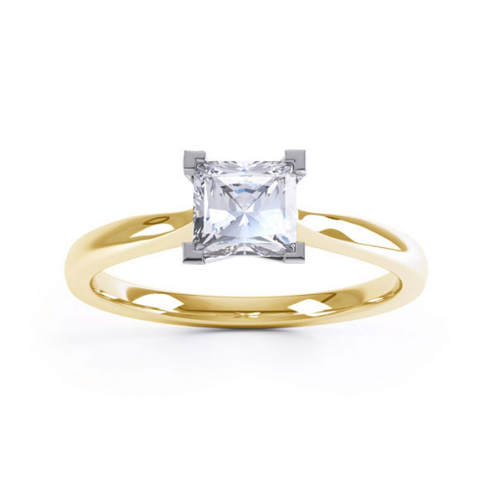 Princess Solitaire Engagement Ring with Open Setting Top View In Yellow Gold