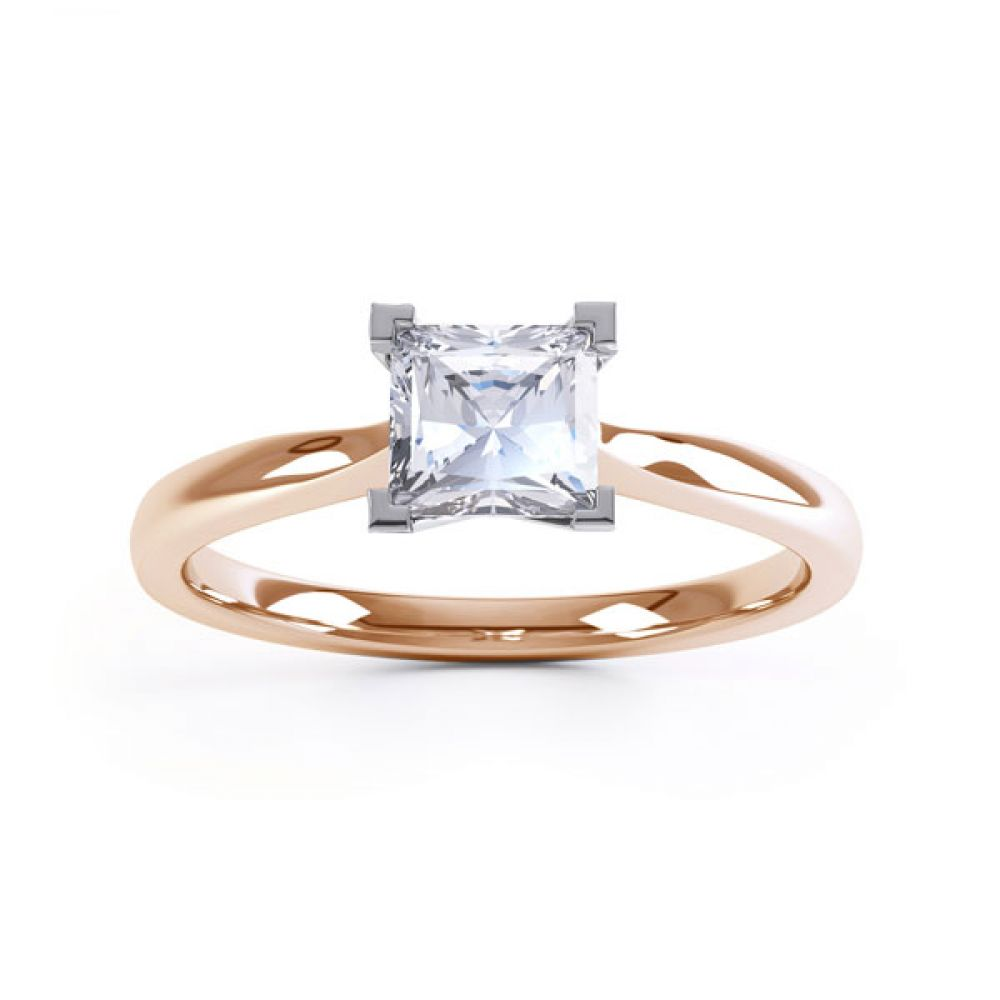 Princess Solitaire Engagement Ring with Open Setting Top View In Rose Gold