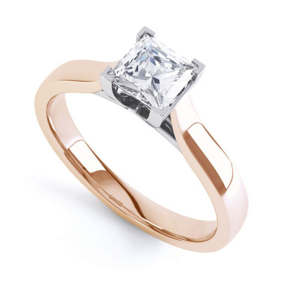 Crossover Claw Box Set Princess Diamond Ring In Rose Gold