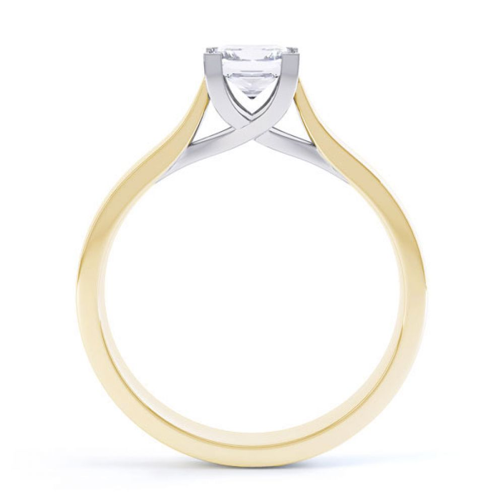 Crossover Claw Box Set Princess Diamond Ring Side View In Yellow Gold