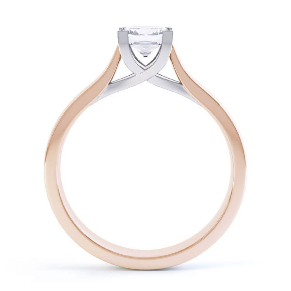 Crossover Claw Box Set Princess Diamond Ring Side View In Rose Gold