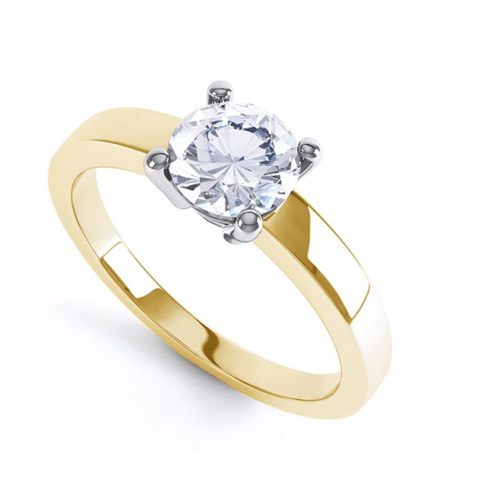 Round 4 Claw Engagement Ring with Straight Shoulders In Yellow Gold