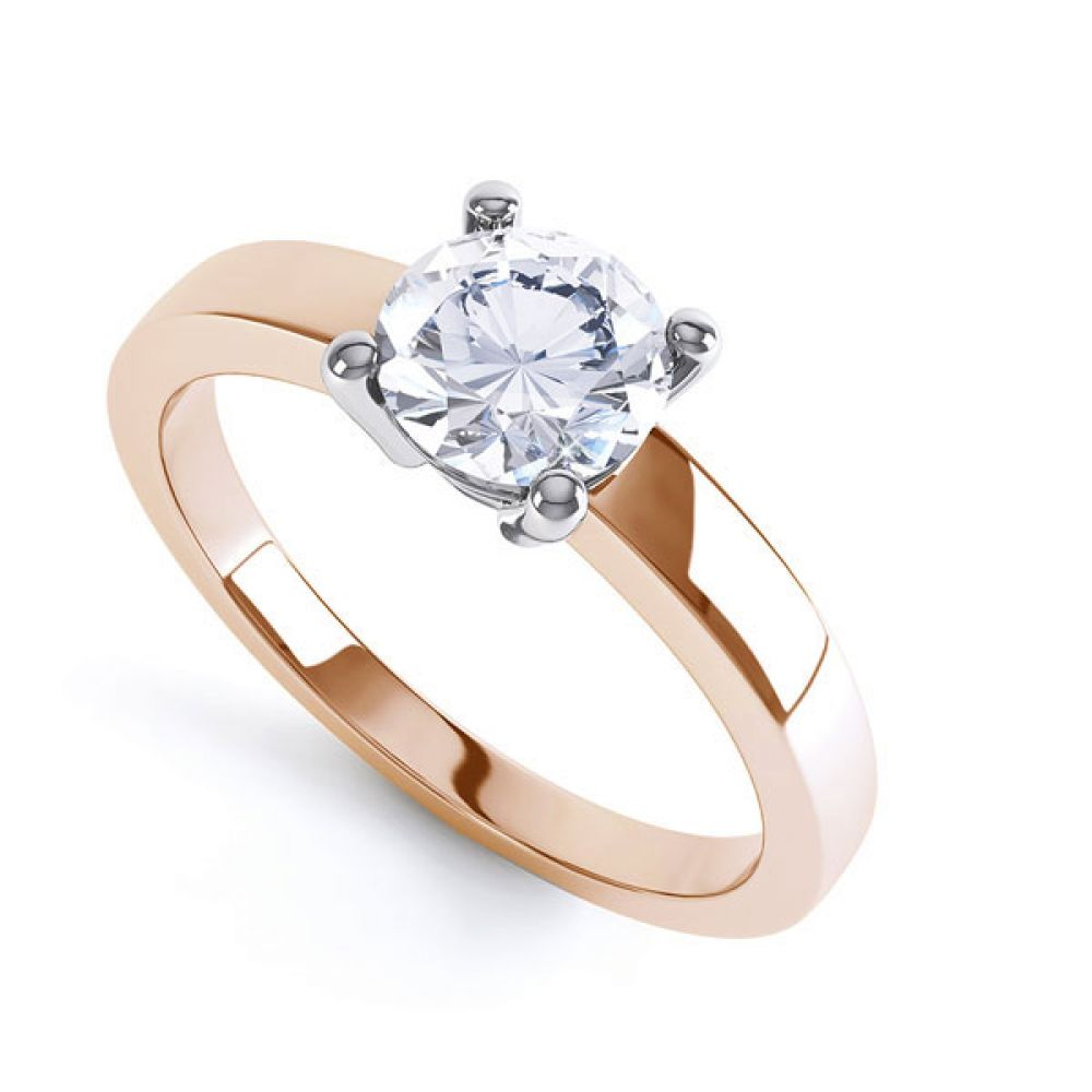 Round 4 Claw Engagement Ring with Straight Shoulders In Rose Gold