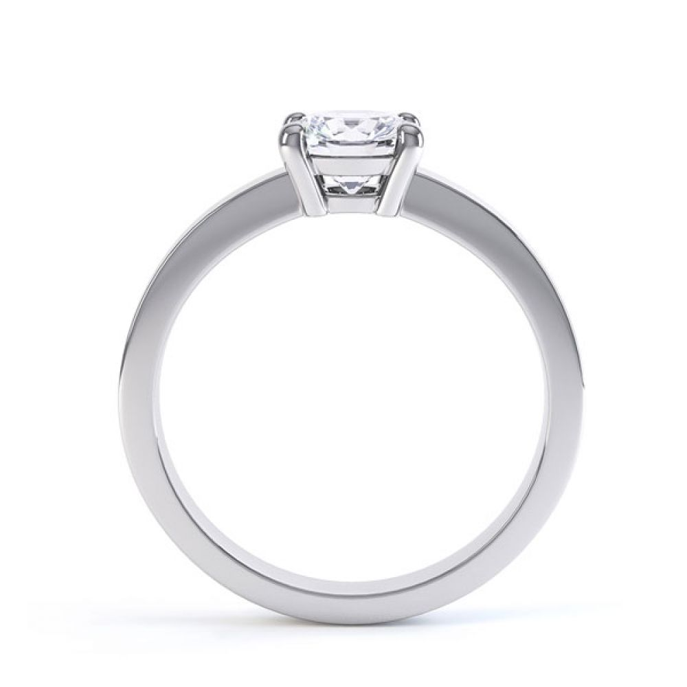 Round 4 Claw Engagement Ring with Straight Shoulders Side View