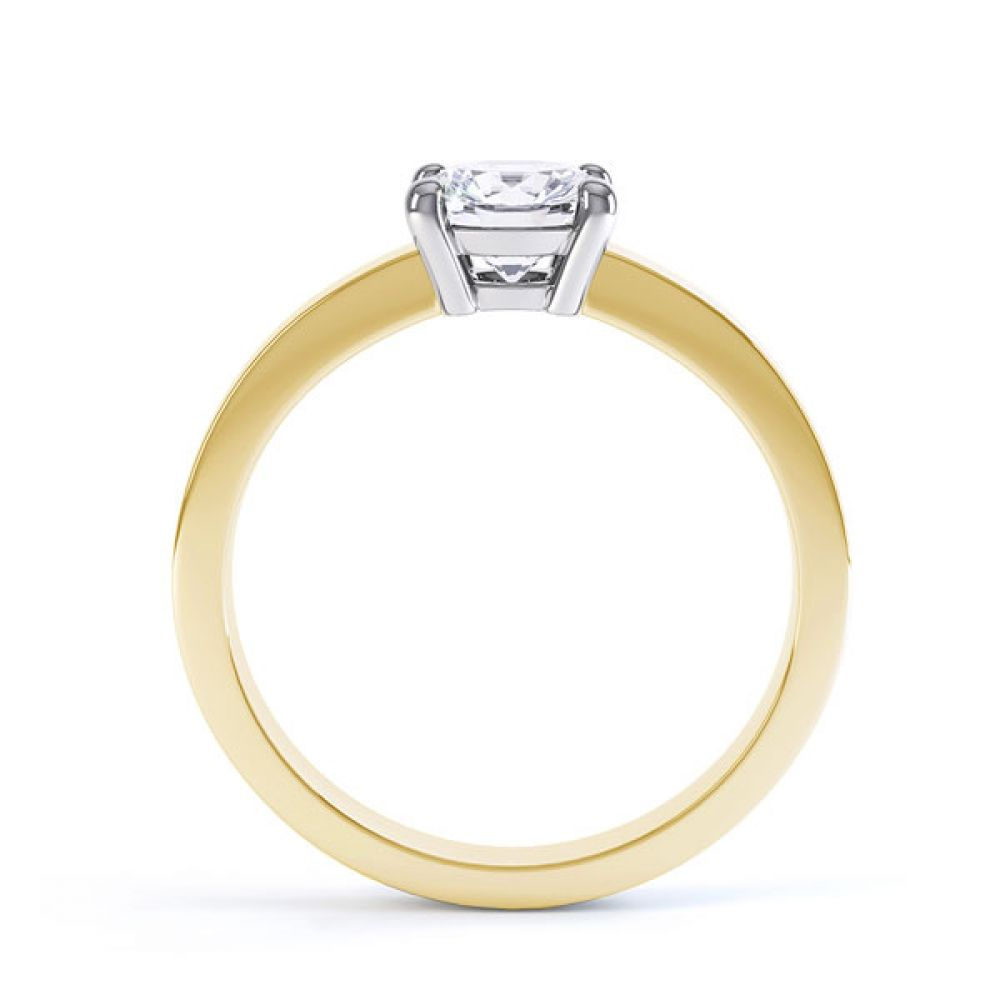 Round 4 Claw Engagement Ring with Straight Shoulders Side View In Yellow Gold