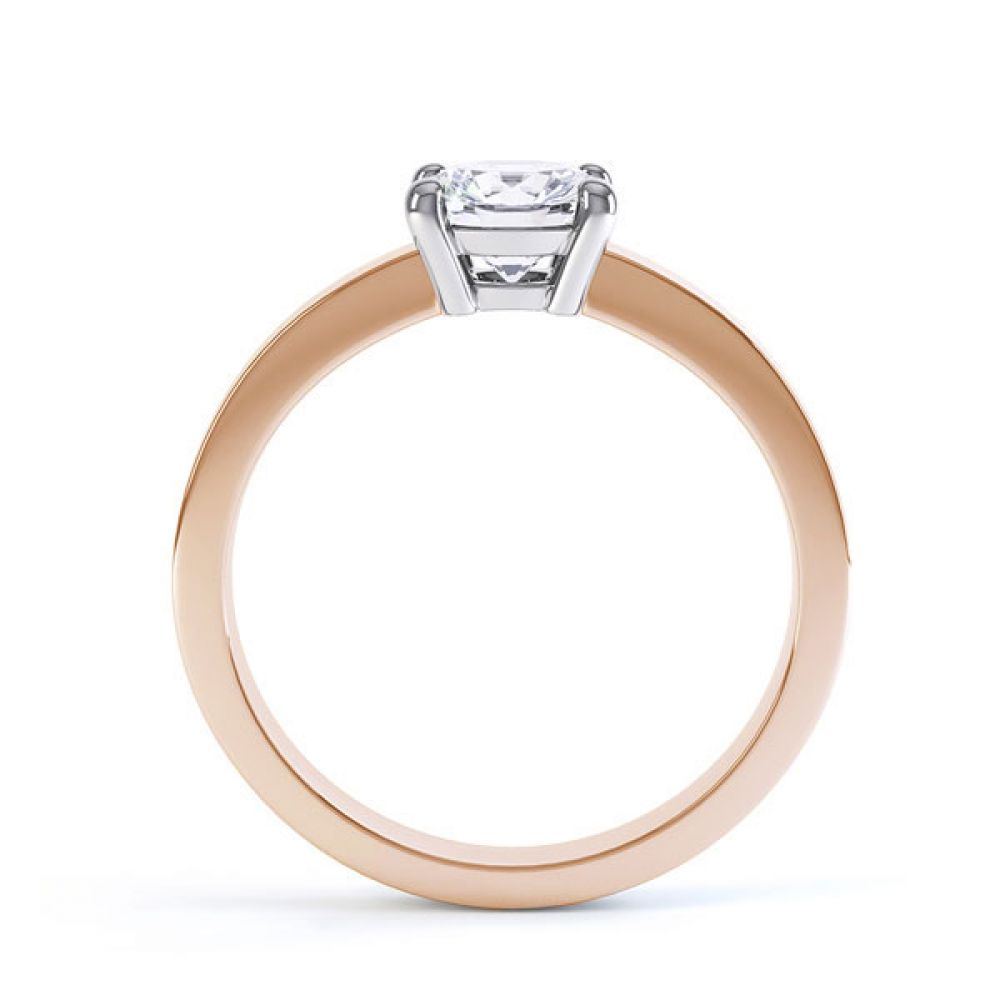 Round 4 Claw Engagement Ring with Straight Shoulders Side View In Rose Gold