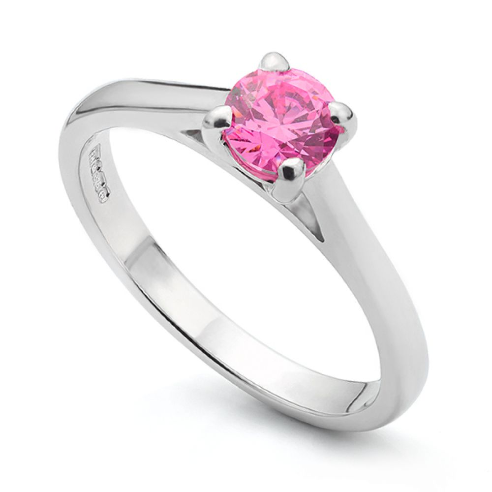 Swarovski Pink Solitaire Engagement Ring in 9ct White Gold