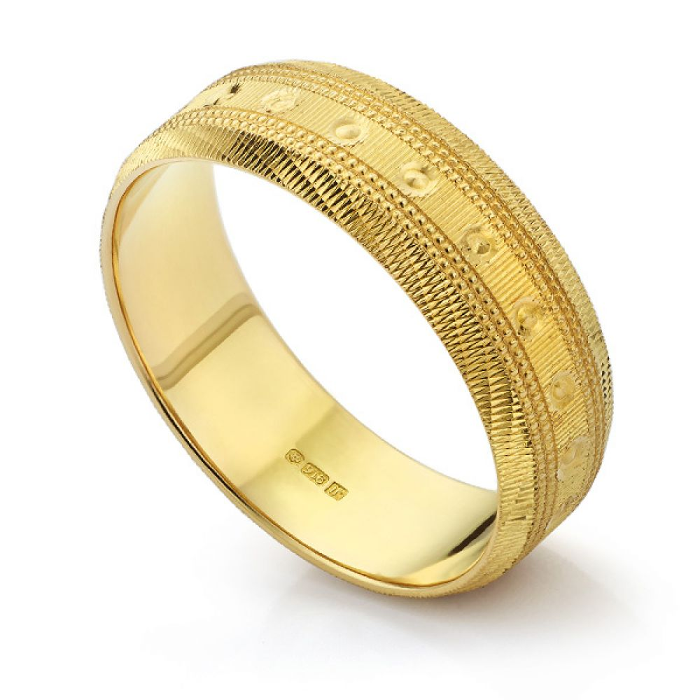 22ct Yellow Gold Textured Wedding Ring