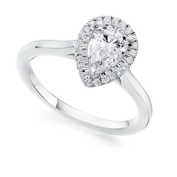 Pear Shaped Diamond Halo Engagement Ring  Main Image