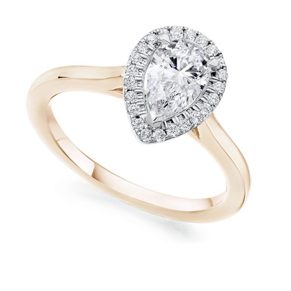 Pear Shape Diamond Halo Engagement Ring In Rose Gold
