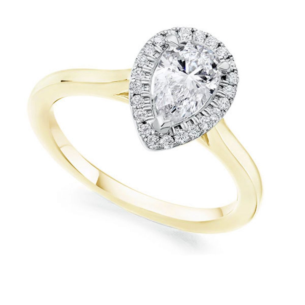 Pear Shape Diamond Halo Engagement Ring In Yellow Gold