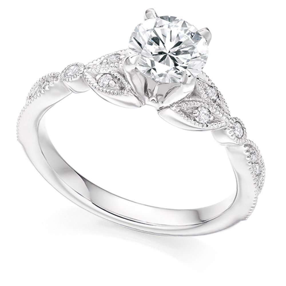 Vintage Solitaire Diamond Engagement ring - White
