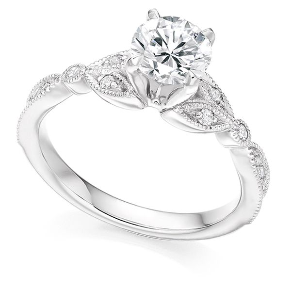 Vintage Style Solitaire Engagement Ring With Leaf Design