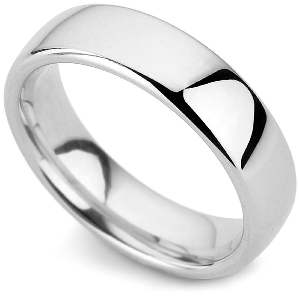 Medium weight court profile wedding ring