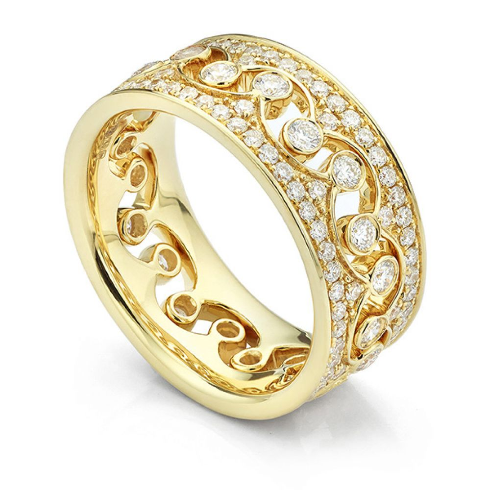Fusion Interlocking Diamond Wedding Rings Elizabeth in Yellow Gold