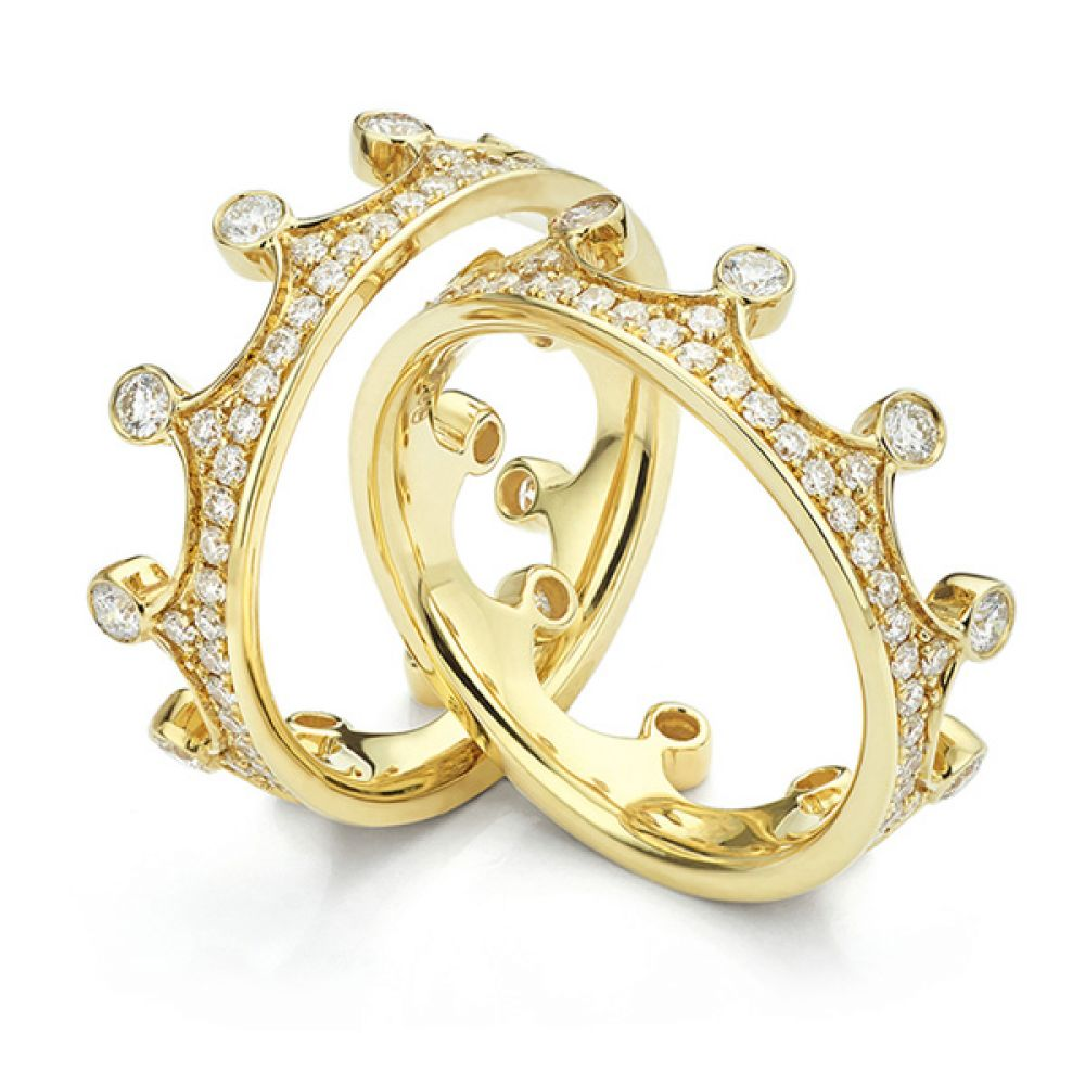 Fusion Interlocking Diamond Wedding Rings Pair Elizabeth in Yellow Gold