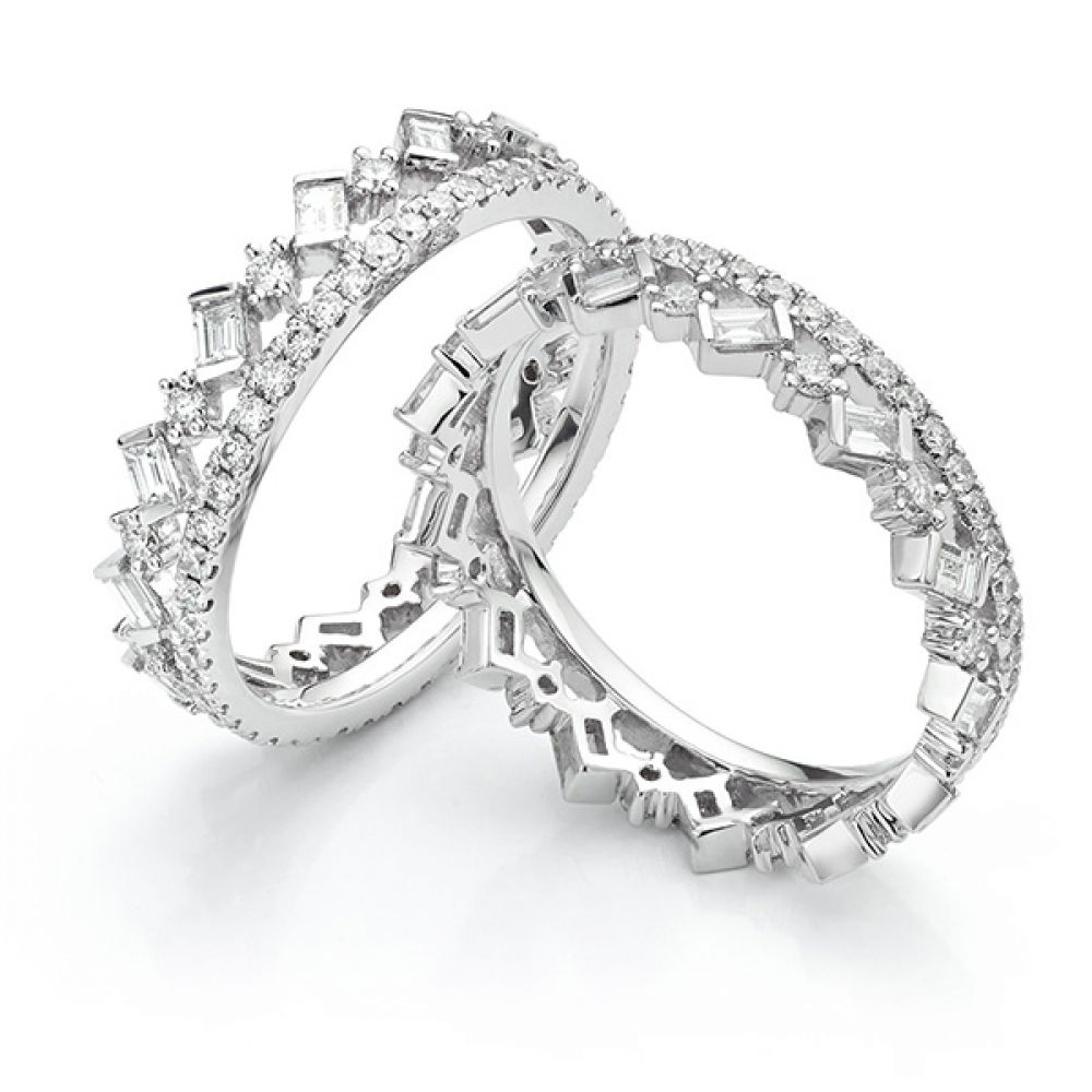 Cleopatra Fusion Diamond Ring Set viewed apart